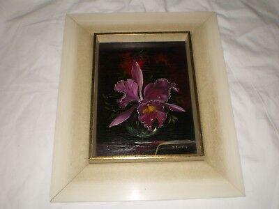 D Dorothea Bastanier Signed & Named Oil on Wood Orchid Flower German Artist