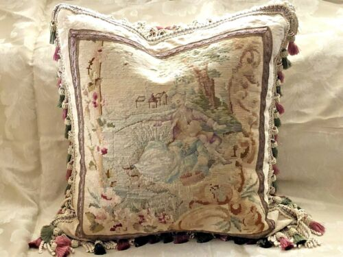 ROMANTIC 19TH C ANTIQUE NEEDLEPOINT TAPESTRY PILLOW COUPLE  24 x 24 Woolwork