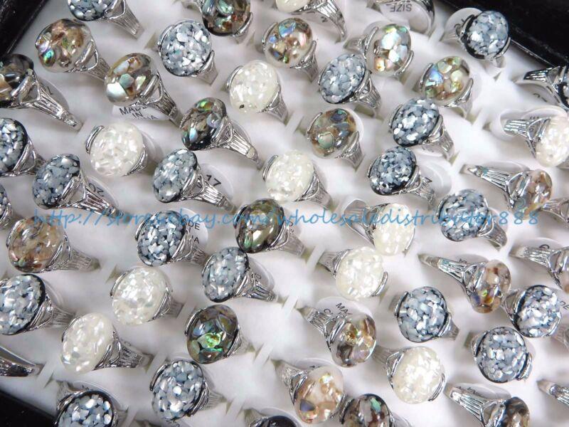 15pcs wholesale cheap  seashell wholesale ring jewelry lot