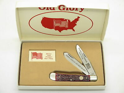 Vtg Boker United Old Glory Honor American Flag Folding Trapper Knife Limited