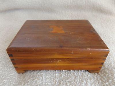 Vintage Wood Cedar Jewelry Trinket Box Dovetailed Hinged