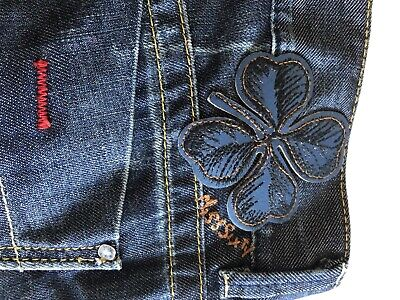 Miss Sixty ICONIC Karen Low Rise Blue Straight Jeans With Clover Stitch Size 29