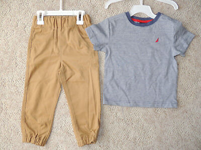 Toddler Boys Nautica 2T Blue Shirt Khaki Elastic Waist Pants 2 Piece Set Outfit