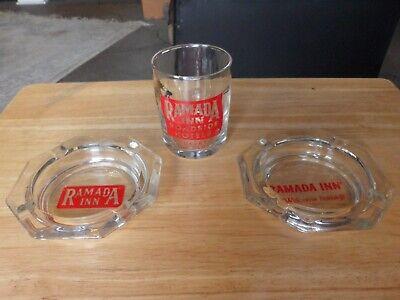 Ramada Inn Hotel~Vintage Group, Glass Ashtray/Glass w/Painted Text/Logo
