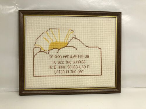 Finished Counted Cross Stitch God Sunrise Religious brown yellow framed