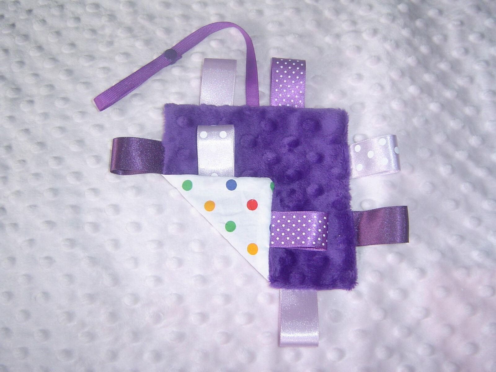 Mini Minky Taggy Blankets, Various Styles available.