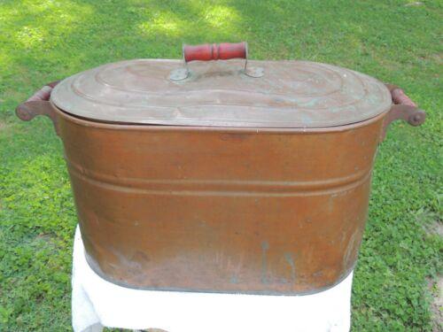 Revere Antique Vintage Copper Boiler With Lid Wash Tub Wood Red Handles
