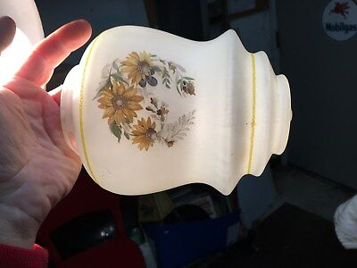 Vintage Frosted Glass Light Shade with Yellow Daisys Kitchen Parlor Shade