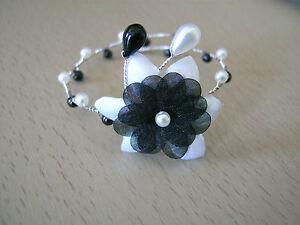 Bracelet noir et blanc p robe de mari e mariage soir e Fleur noir et blanc