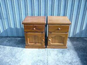 Pair of one door one drawer Bed sid cabinet solid wood as new conditio