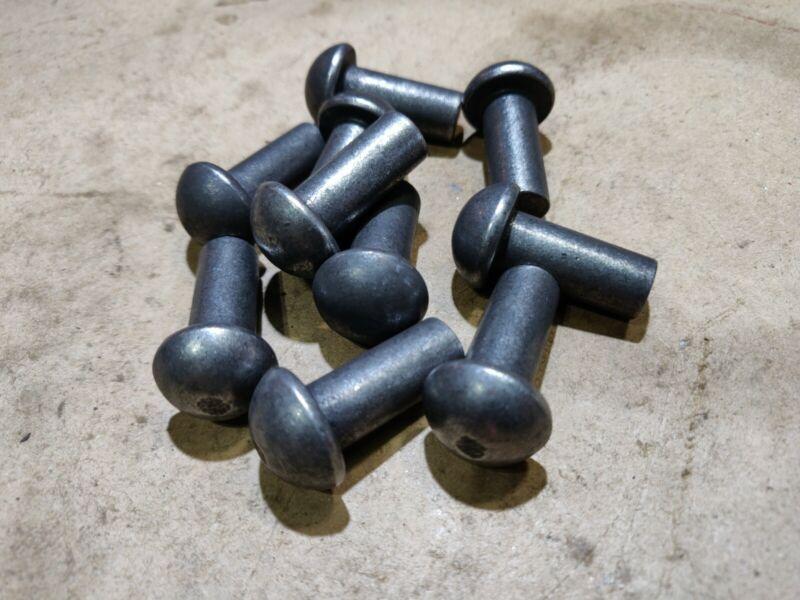 """7.5Lbs, 7/16 Dia X 1"""" Steel Solid Round Head Solid Rivet, Plain Finish"""