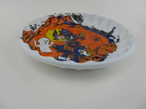 Vintage HALLOWEEN Plastic Molded Candy  Dish Serving Bowl Plate 9 3/4""