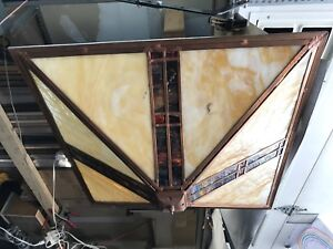 Copper and stained glass hanging light