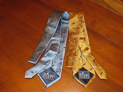 The Grand Old Party Republican Men's Neck Tie 100% Silk Set of 2 Gold & Blue NEW