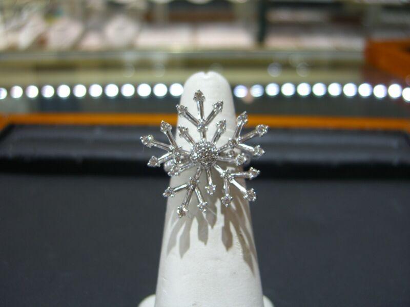 Womens Fine 18 Karat White Gold Diamond Ring Snowflake 1.50 Carats Size 6.5