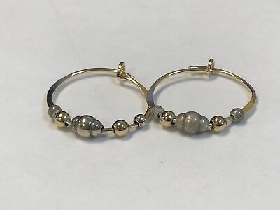 Women's Yellow Gold Plated Ball Beaded Hoop Earrings