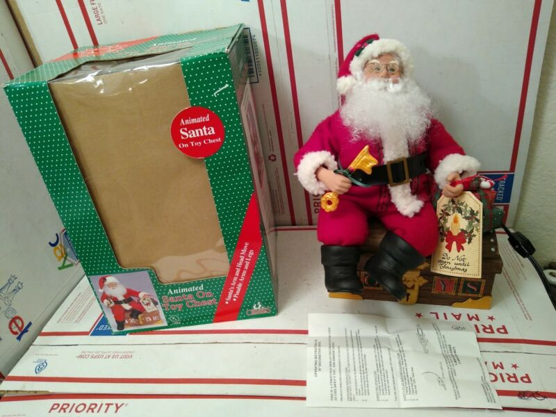 """Animated Santa on Toy Chest Animated Christmas Figure 16"""" Tall Holiday w/ Box"""