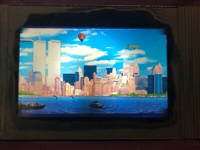 New York Twin Towers Airplane Vintage Moving Picture Frame Animated Wall Art (Ny Moving Wall Art)