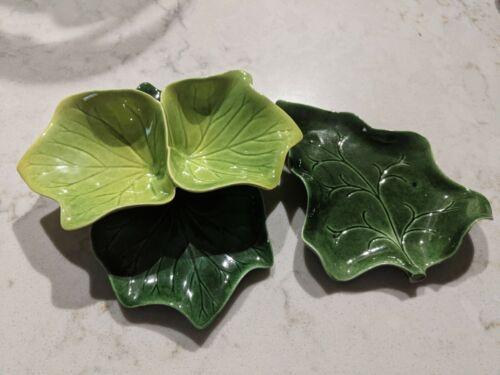 Vintage ARCADIA Green Leaf Shaped Dish & Leaf Dish Unknown Maker