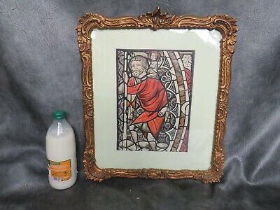 A VERY NICE STAINED GLASS DESIGN OF ST CHRISTOPHER FRAMED AND GLAZED