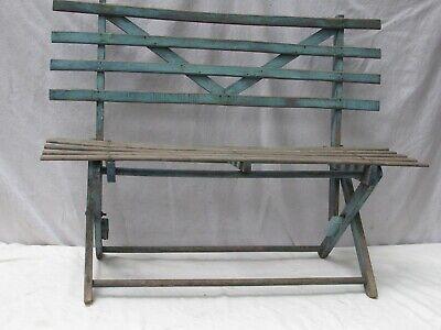 Antique Garden Bench - Antique Garden Wood Folding Slat Bench Great Age and Blue Color