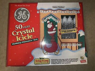 Rare! GE 50 Light Crystal Icicle Holiday Classics Light Set Indoor/outdoor