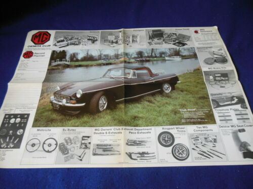 Original MG UK Owners Club Fold out 4 Panel Planner Record
