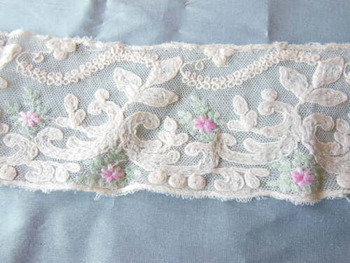 Antique Lace Trimming with Embroidered Flowers