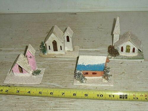 4 Old Vintage Christmas Cardboard Putz House Village Loofa Tree Ornaments Japan