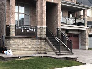 Aluminum railing with glass column gate fence. Best prices