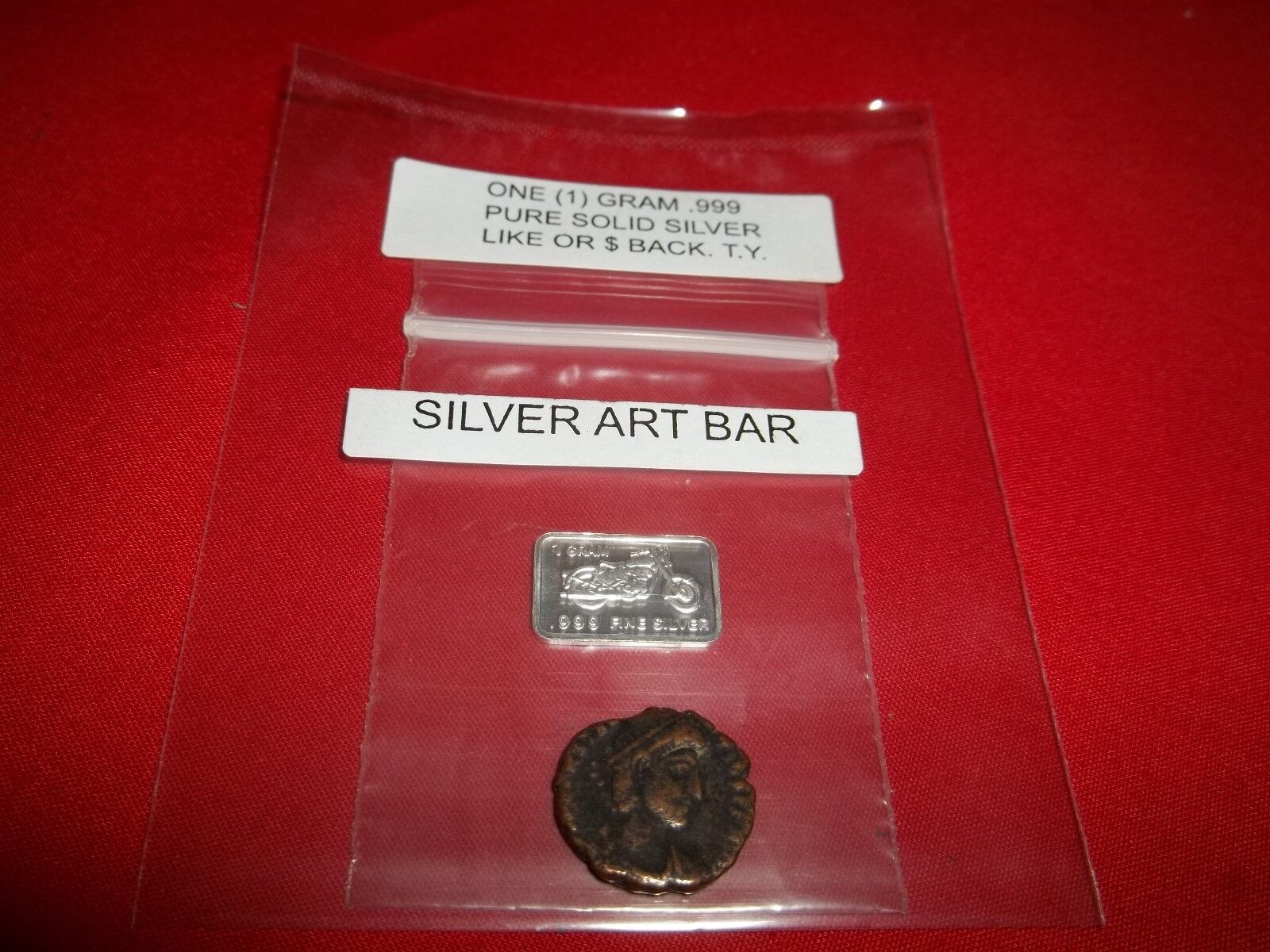 Authentic Ancient Roman 1 Coin, with 1 gram .999 Fine Solid Silver Mini Art-Bar