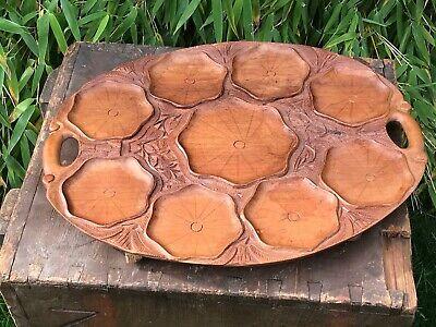 Vintage Tropical Hardwood Carved Indian Serving Tray Platter Decorative