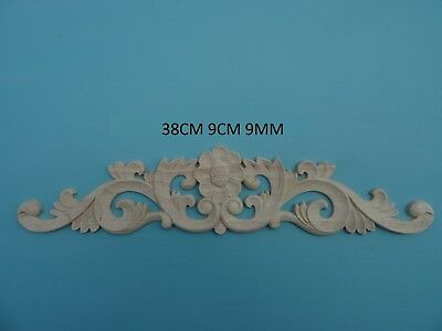 Decorative wooden large rose and scroll applique furniture moulding onlay W34