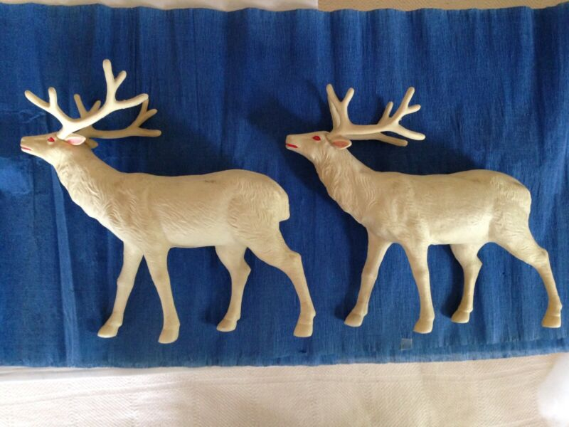 2 Extra Large Japanese Celluloid Christmas Reindeer