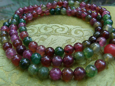 Rare Mala Tibetan Wooden Rosary from Pink, Red & Green Agate 108 Pearls 8mm