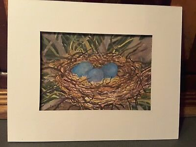 "Studio Sale ~ Original Watercolor  ""Nest for Three"" signed by C. A .Centre~"