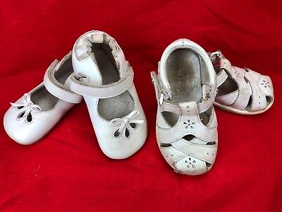 ROBEEZ Leather Crib Shoes Ballet Flats + STRIDE RITE White Sandals Baby Girls 5