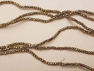 Electroplate Gold Faceted abacus Glass Beads, 2.5x2mm, Hole: 1mm - Qty 50