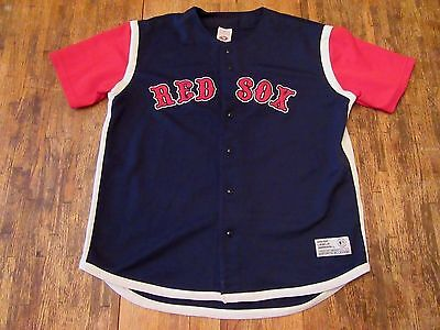 Large (L) BOSTON RED SOX S/S Polyester Buttonup Baseball Jersey