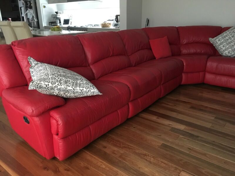 Plush Red Leather Corner Lounge Sofas Gumtree Australia