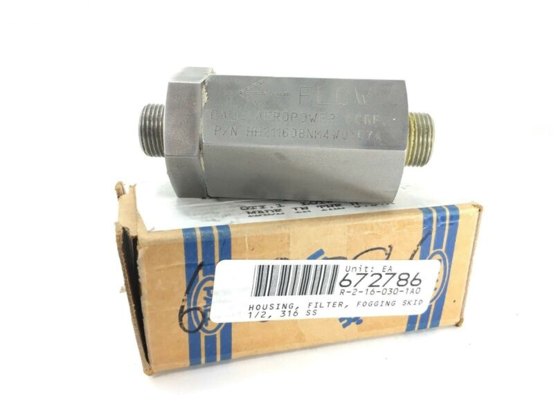 """Pall Aeropower Hh211608Nm4W0Yr74 1/2"""" 316 Ssskid Fogging Filter Housing - Used"""