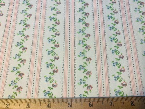 "Vintage Cotton Fabric PRETTY Heavy Pillow Ticking Floral Stripes 31""w 33""L"