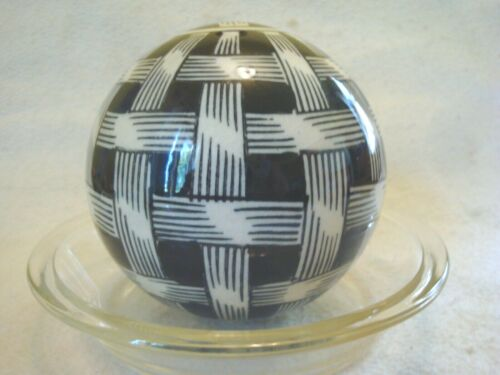"Navy Blue & White Vintage Basket Weave Carpet Ball Ceramic Heavy 4-1/2"" Decor"