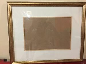 Gold wooden frame with glass and mat $24
