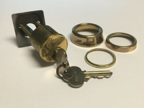 Vintage Penn Rim Cylinder Lock with 2 Keys and Trim Rings - FREE SHIPPING