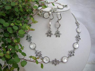 Fesches Trachtenschmuck-Set Halskette zum Dirndl weiße Cabochons und Edelweiß