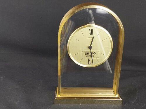 Seiko Quartz Gold Table Desk Mantel Clock-Ref. QPW102G-Cal. 21301A-Made in Japan