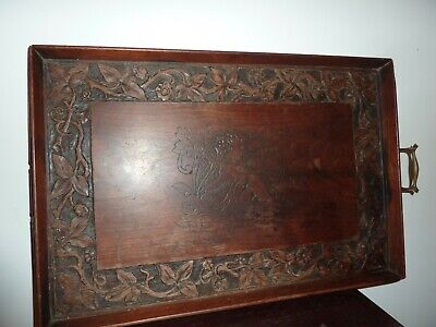 EARLY 20THC 55.8 BY 37.5CM CARVED LEAF/FLOWER WOODEN SERVING TRAY -GRIFFEN IMAGE