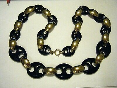 "28"" Large Graduating Gucci Links Vintage 1970 Necklace Black Plastic Gold Plate"