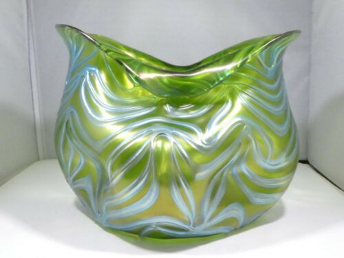 UNUSUAL LARGE BIOMORPHIC IRIDESCENT LOETZ VASE